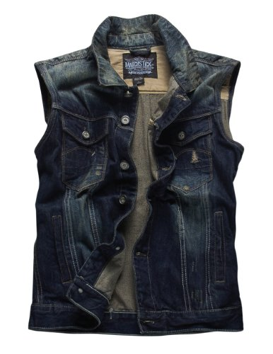 Match Mens Retro Cowboy Denim Washed Waistcoat Vest #G0307 (XL (US Large)- Chest 42-44in (107-112cm), Blue)