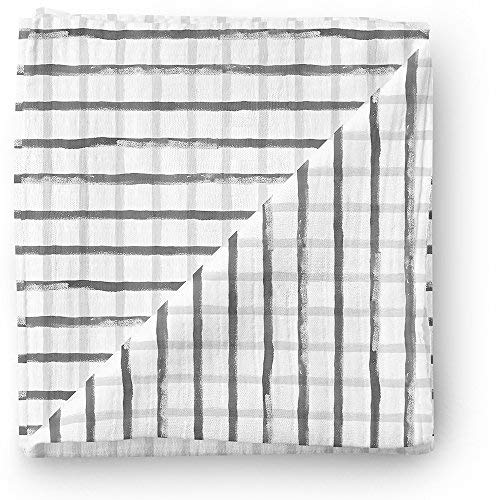 (Aenne Baby Stripes Muslin Swaddle Blanket, Watercolor Grid,Gingham,Grey, Unisex, Baby Shower Gifts, Luxurious Soft and Silky Bamboo Cotton 47x47inch (1pack) Nursing Cover wrap)