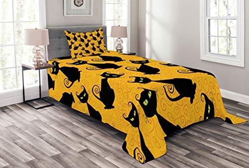 Ambesonne Vintage Bedspread Set Twin Size, Black Cat Pattern for Halloween on Orange Background Celebration Graphic Patterns, Decorative Quilted 2 Piece Coverlet Set with Pillow Sham, Black Orange