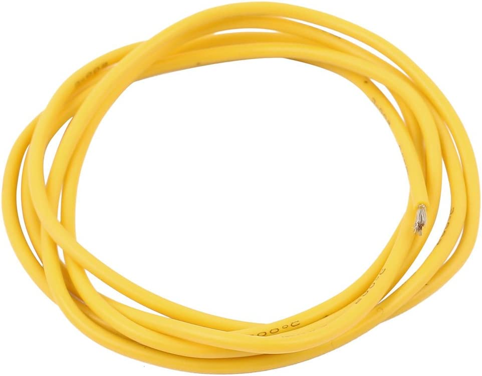 Aexit 18AWG Gauge Video Cables Flexible Stranded Copper Cable Silicone Wire Yellow 1M Length for Firewire Cables for RC