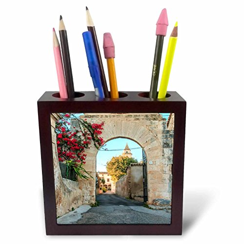 3dRose Danita Delimont - Architecture - Spain, Balearic Islands, Mallorca, church gateway. - 5 inch tile pen holder (ph_277909_1) by 3dRose
