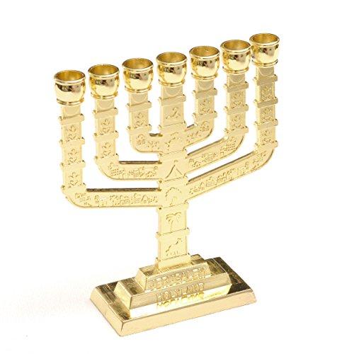 Anandashop Gold Jerusalem Candle Holder Decorative Stand Judaica 7 Branch Menorah Hanukkah Gift
