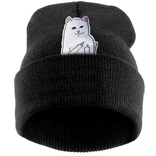 Thenice women's winter wool cap hip hop knitting skull hat (Middle middle finger cat black)