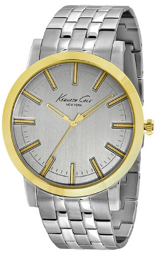 Kenneth Cole New York Men's KC9335 Slim Round Silver Dial Yellow Gold Bezel Watch