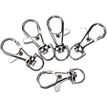 Prudance 80pcs Silver Chrome Swivel Eye Lobster Claw Snap Clasp Hook for Jewelry Key Chains /& More; 1-1//2 X 1//2