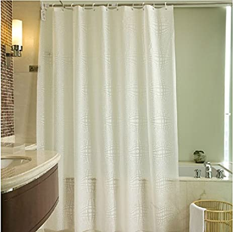 Eforgift Geometry Pattern PEVA Shower Curtain 15 GaugeWaterproof Mildew Repellent Bath Curtains