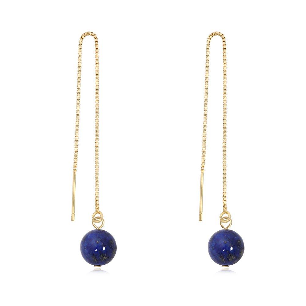TUSHUO Perfect Natural Gemstone Pendant Earring Simple Ronud Shaped Vintage Dangle Chain Earrings (Lapis Lazuli)