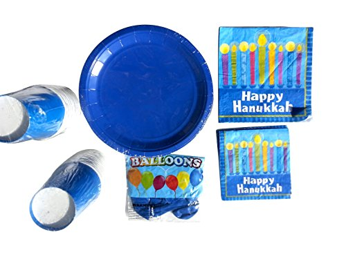 Hannukkah Menorah Candles Party Paper Plates and Napkins Bundle (Hanukkah 20 lite) (Paper Menorah)