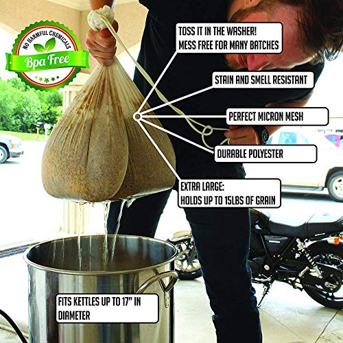 2pk Extra Large (26'' x 22'') Reusable Drawstring Straining Brew in a Bag by The Weekend Brewer (Image #1)