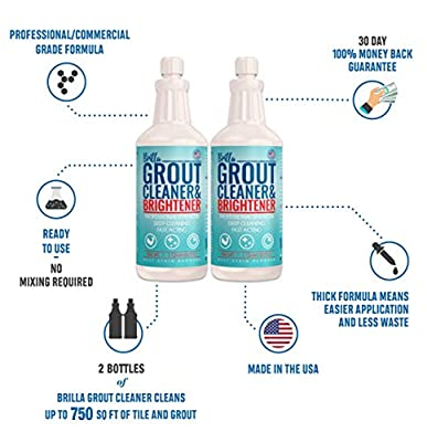 Grout Cleaner and Brightener: Deep Cleans Bathroom, Shower, Kitchen Tile Grout on Walls and Floor : 2 Quart Bottles, 2 Brushes