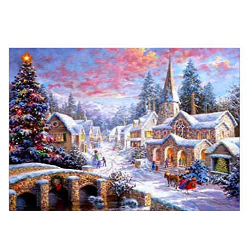 (Hardli 5D DIY Full Diamond Paintings Christmas Snow Scene Embroidery Cross Craft Stitch Kit Home Decor)