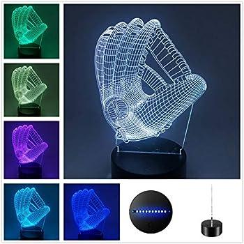 DowBier 3D Illusion Multi Colors USB Sleeping Night Light Desk Lamp Room Decoration (Baseball Glove)