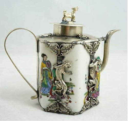 (EASTCODE teapot > Collectibles china Tibet Silver Dragon Porcelain teapot Garden Decoration 100% real Tibetan Silver Brass)