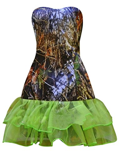 Sexy Camo Dress With Star Appliques (Snowskite Womens Sweetheart Short Sheath Column Camo Organza Wedding Party Dress Green 26)