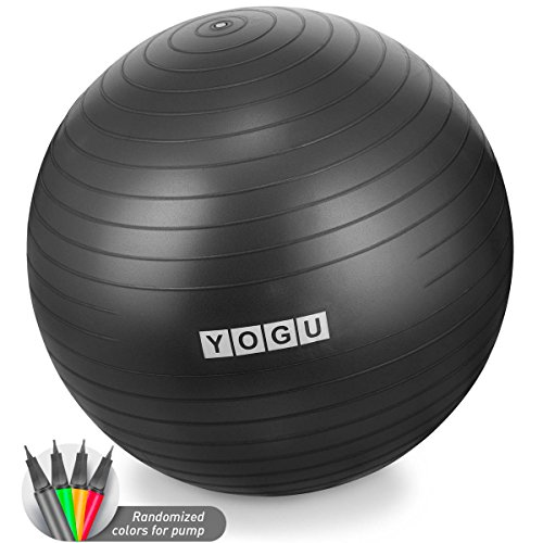 Yogu Stability Exercise Ball 65cm Balance Ball Birthing Ball with Air Pump Anti-Slip & Anti-Burst Supports 2000lbs Great for Yoga Pilates Abdominal Workout Fitness Ball and Office Chair  Review
