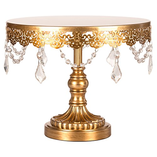Amalfi Décor 10-Inch Cake Stand, Crystal Draped Round Metal Dessert Cupcake Display Pedestal Plate for Weddings Events Birthdays Parties Food Tower, Sophia Collection (Antique Gold) ()