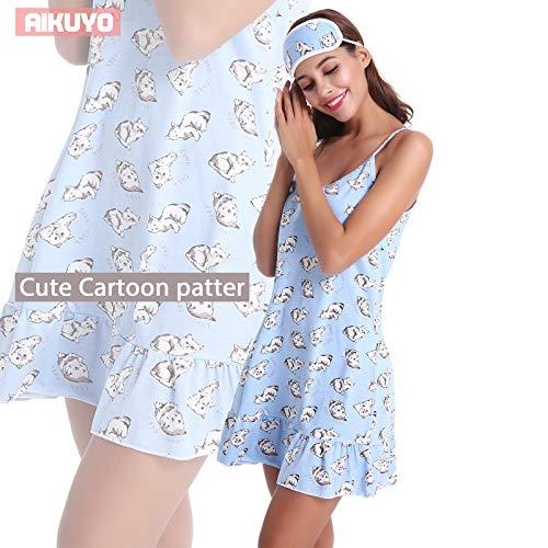 Pigiama Donna da Stile Cartone Cat animato Pigiama Cinghia estivo Notte Spaghetti Cottone Camicie Blu 100 Aikuyo Donna di AwPpz45nx