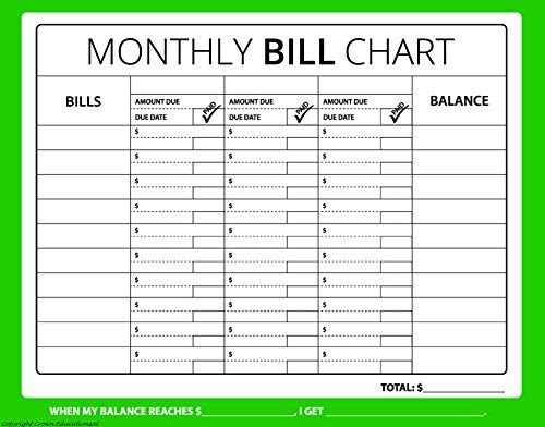 image about Bill Chart Printable named : 16x12 Month-to-month Invoice Chart (Finances, Price
