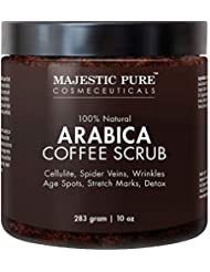 Arabica Coffee Exfoliating Body Scrub - All Natural Formula for Skin Care, Stretch Marks, Acne & Cellulite, Reduce the Look of Spider Veins, Eczema, Age Spots & Varicose Veins - 10 Oz