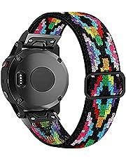 Olytop Elastic Bands for Fenix 5/Fenix 5 Plus/Fenix 6 Pro Bands, 22mm Soft Stretch Breathable Wristband Replacement Strap Men Women for Garmin Fenix 5/Forerunner 935/Approach S60/Quatix 5 Black