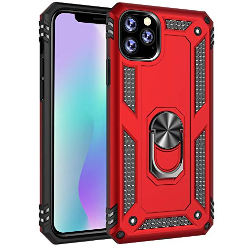 """Apple iPhone 11 Pro Max Case, Extreme Protection Military Armor Dual Layer Protective Cover with 360 Degree Unbreakable Swivel Ring Kickstand for Apple iPhone 11 Pro Max 6.5"""" Red"""