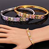 GDSTAR Gold Bracelet Platinum / 18K Gold Plated Floral Hoop Jewelry racelets Bangles AAA+ Cubic Zircon Crystal
