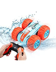 Faylor Remote Control Car Waterproof Stunt Car- 2.4Ghz 4WD Off Road Water & Land Rc Cars-Double Sides Stunt Car with 360° Spins & Flips Racing Car Toys for Kids Christmas Birthday Gift, Orange