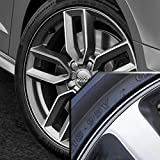 Wheel Bands Silver in Black Pinstripe Edge Trim for Audi A4 13-22'' Rims