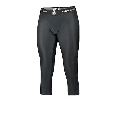 Badger Men's Calf Length Elastic Waistband Flat Lock Tights, XXX-Large, Black
