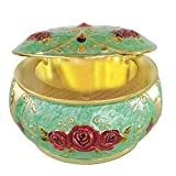Magicpro Vintage Ashtray with Lids,Metal Cigarettes Ashtray for Outdoor & Indoor Use,Green
