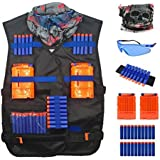 Youc-US Tactical Nerf Vest Accessories Set for Nerf N-Strike Elite Series with 20 Refill Darts, 2 Quick Reload Clips, Wrist Ammo Holder, Safety Glasses, and Tube Mask Tactical vest
