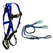 FallTech CMB16259YL Combo Kit - 7016 Harness, 8259YL Looped Lanyard, Blue/Black