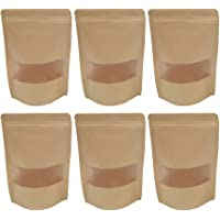 Toyvian Stand Up Kraft Paper Bag 25pcs Packing Zip Lock Transparent Window Bag Heat sealable Packaging Pouches Zipper Self Sealing Bags Ideal for Beans, Nuts, Biscuits (12X20cm)