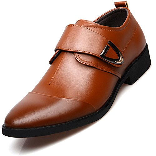 3288593af chic IIYoYo Men s Monk Strap Pointed Toe Slip-on Breathable Leather Classic  Formal Business Oxford