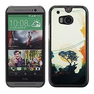 Qstar Arte & diseño plástico duro Fundas Cover Cubre Hard Case Cover para HTC One M8 ( Painting Oriental Sunset Trees Minimalist)