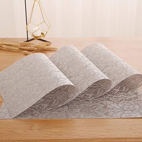 Deconovo Vinyl Placemat Waterproof Anti-Skid Palce Mats Stain-Resistant Placemats Floral Washable Table Mats for Kitchen Table 12x18 Inch Khaki Set of 4 ()