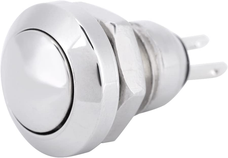 Bouton-poussoir Momentan/é Keenso 1A 24V Commutateur /à Bouton-poussoir Imperm/éable Shell Adapt/é au Trou de Montage de 8mm Nickel-plated Brass