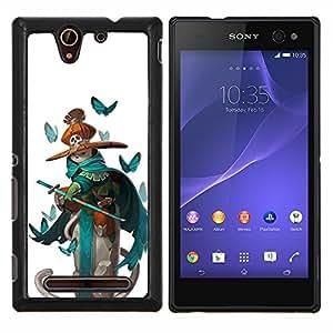 YiPhone /// Prima de resorte delgada de la cubierta del caso de Shell Armor - piratas niños espada verde azulado mariposa blanca - Sony Xperia C3