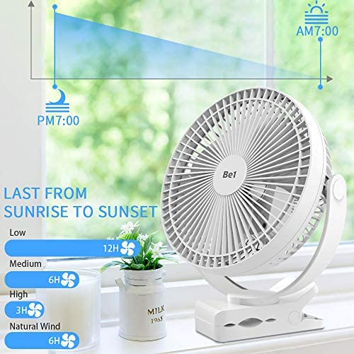 OPOLAR 8-Inch Desk Clip Fan with 5000mAh Battery, Rechargeable USB Fan for Fast Air Circulation, 4 Speeds, 10W Fast Charging, Portable, for Golf Cart with Round Roof Gym Car