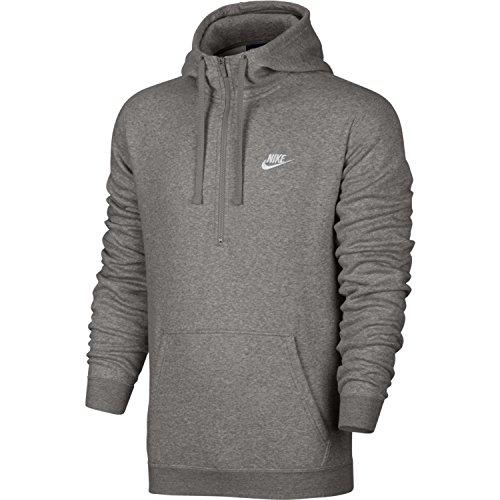 - Nike Mens Sportswear Half Zip Club Fleece Hooded Sweatshirt DK Grey Heather/White 812519-063 Size Large