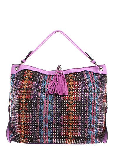 Women's Faux Leather And Fabric Handbag