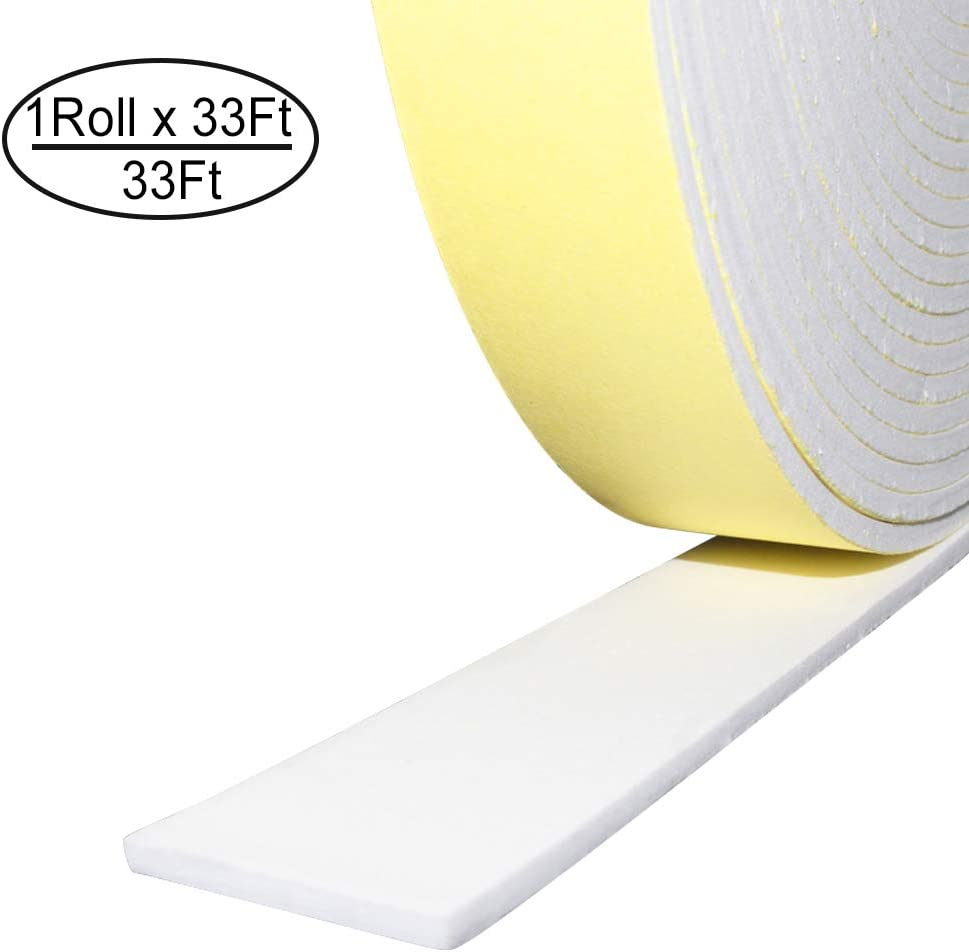 "Foam Insulation Tape Adhesive,Weather Stripping for Doors,Seal,Weatherstrip,Waterproof,Plumbing,HVAC,Windows,Pipes,Cooling,Air Conditioning,Weather Stripping, Craft Tape (33 Ft- 1/8"" x 2"", White)"