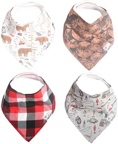 "Baby Bandana Drool Bibs for Drooling and Teething 4 Pack Gift Set ""Lumberjack"" by Copper Pearl"