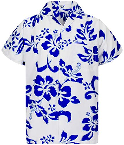 V.H.O Funky Hawaiian Shirt, Shortsleeve, Hibiscus, Indigoblue on