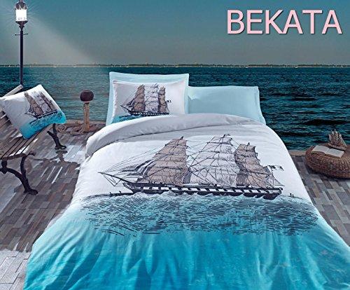 Bekata-Maritime-Nautical-100-Cotton-FullQueen-Size-Duvet-Quilt-Cover-Set-Sailing-Boat-Ships-Sailor-Theme-Themed-Perfect-Design-Bedding-Linens-Reversible-4-PCS