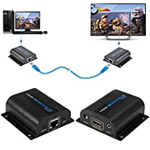 HDMI Transmitter Receiver, Joyhero 60m/190ft 1080P HD HDMI Network Extender Over Single Cat6/6a/7 Ethernet Cable with IR Remote Control,Supports Full HD 1080p.