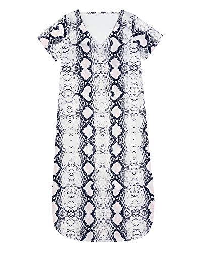 MOSHENGQI Women's Long Swimsuit Cover-Ups Casual Swimwear Short Sleeve Maxi Dress(L,Snake-Printed) (Tattoo Print Dress)