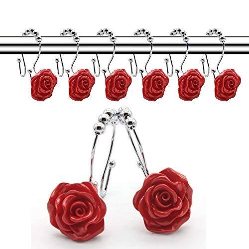 VAVTER Roller Double Glide Shower Hooks, Decorative Anti Rust Resin Rose Flower Shower Curtain Rings Hangs Set of -