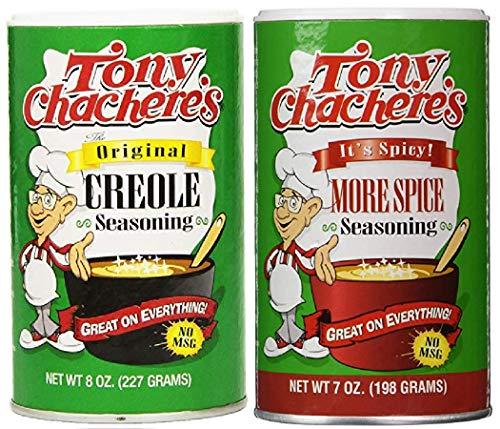 - Tony Chachere's No MSG Cajun Creole Seasoning Bundle - 1 each of Tony's Original Creole Seasoning 8 Ounces and Tony's More Spice Seasoning 7 Ounces