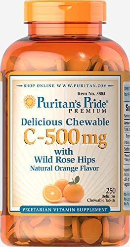 Puritan's Pride Chewable Vitamin C-500 mg with Rose Hips-250 Chewables